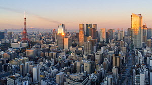 Timelapse of the sun rising over Tokyo, with the sun reflected in a skyscraper, Tokyo, Japan, November 2017. (This image may be licensed either as rights managed or royalty free.) - Gavin Hellier