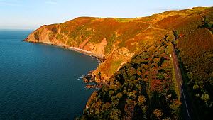 Aerial shot tracking along the coast of Exmoor National Park, showing Countisbury Hill and Foreland Point with Sillery Sands below, Devon, England, UK, October 2017. (This image may be licensed either... - Gavin Hellier