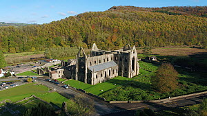 Aerial view of Tintern Abbey, Monmouthshire, Wales, UK, October 2017. (This image may be licensed either as rights managed or royalty free.) - Gavin Hellier
