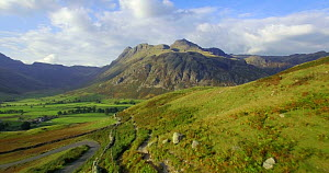 Aerial shot looking towards Great Langdale and the Langdale Pikes, from Side Pike, Lake District, Cumbria, England, UK, October 2016. (This image may be licensed either as rights managed or royalty fr...  -  Gavin Hellier