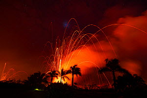 Lava from Kilauea Volcano erupts from fissures in Kapoho, shooting glowing lava bombs hundreds of meters into the sky and releasing clouds of poisonous gases. Puna District, near Pahoa, Hawaii. June 2... - Doug Perrine