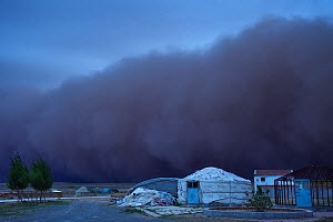 Sand storm rolling in over lodges on farm, Inner Mongolia, China - Staffan Widstrand / Wild Wonders of China