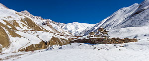 Snow-covered Himalayan mountains, habitat of the snow leopard (Panthera uncia), Hemis National Park, Ladakh, India. February 2014. Digitally stitched panorama.  -  Axel  Gomille