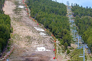 Ski slope run through forest and chair lift in summer, Pyrenees Mountains, France. - Klein & Hubert