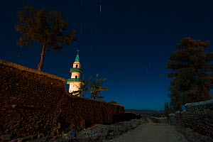 Awo Gojam Mosque photographed at night. The City of Harar is a holy city of in the Islam faith, and has 99 mosques.   Ethiopia. February 2008.  -  Francisco Marquez