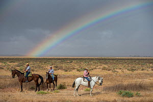 Men on horseback during the round up of mares and foals on marshland, with rainbow.  Donana National Park, Spain. September 2014. - Francisco Marquez
