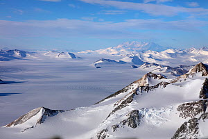 Aerial view of Transantarctic  mountains, taken en route  from the South Pole to Union Glacier.  Mount Vinson, the highest mountain in the Antarctic in background. - Sue Flood