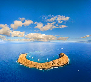 Molokini Crater, aerial shot of charter boats in crescent shaped islet. Maui, Hawaii. January 2018.  -  David Fleetham