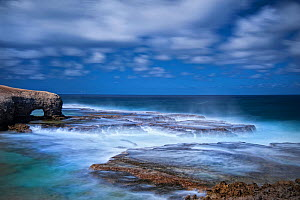Long exposure photo of Cove Bay on a stormy day. North-east of Barbados, January.  -  Derek Galon