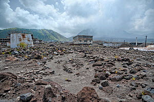 Montserrat, Exclusion Zone V, old capital town Plymouth destroyed by volcano. Volcano is still active, with volcanic gas and dust visible in the sky. June 2012 - Derek Galon