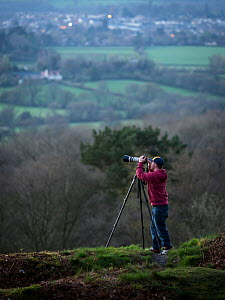 Photographer Oliver Hellowell taking pictures on the Blackdown Hills, Somerset, England, UK. April 2017  -  Oliver Hellowell