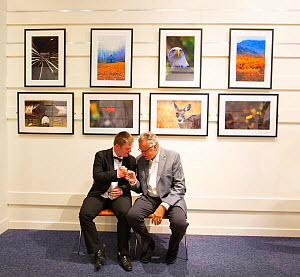Oliver with Ken Jenkins at their joint exhibition, T5 Gallery Heathrow Airport, July 2018 - Oliver Hellowell
