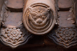 Tiger face in roof tiles. Details from the Taoist Bai Long Wang Miao, White Dragon King Temple, Beiyue Hengshan Mountain, Datong, Hunyuan County, Shanxi Province, China - Staffan Widstrand / Wild Wonders of China