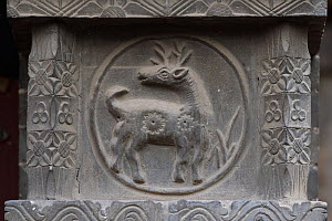 Deer carved in stone at the Yong An Si temple, now a museum, Beiyue Hengshan Mountain, Datong, Hunyuan County, Shanxi Province, China  -  Staffan Widstrand / Wild Wonders of China