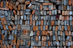 Used bricks stacked up for re-use. Beiyue Hengshan Mountain, Datong, Hunyuan County, Shanxi Province, China - Staffan Widstrand / Wild Wonders of China