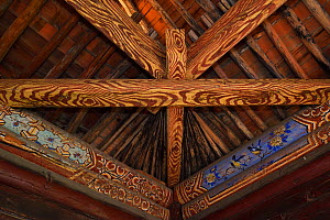 Temple roof at the Xuan Kong Si, or Hanging Temple, 1800 years old, with paintings of birds, Beiyue Hengshan Mountain, Datong, Hunyuan County, Shanxi Province, China  -  Staffan Widstrand / Wild Wonders of China