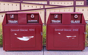 Waste and recycling bins with illustration showing decline in extent of Grinnell Glacier between 1910 and 2008. Glacier National Park, Montana, USA. August 2018. - Jack Dykinga