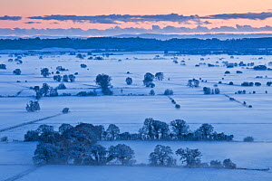 View south over the Somerset Levels from Walton Hill at sunset, with snow, Somerset levels, Somerset, England, UK, December 2010.  -  Guy Edwardes
