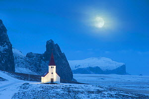Vik i Myrdal church in winter, with full moon, Iceland. January 2015  -  Guy Edwardes