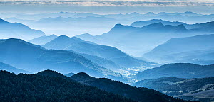 View at dawn over Hautes-Alpes from Col de Perty, The Baronnies, Provence, France.. July 2014 - Guy Edwardes