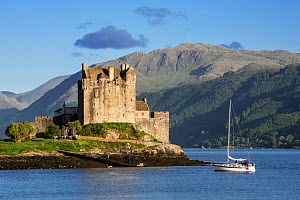 Sailing boat in front of Eilean Donan Castle in Loch Duich, Ross and Cromarty, Scottish Highlands, Scotland, UK, June 2017  -  Philippe Clement