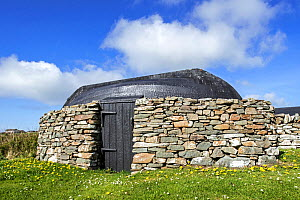 Boat-roofed shed at the Croft House Museum , Boddam, Dunrossness, Shetland Islands, Scotland, UK, May 2018  -  Philippe Clement