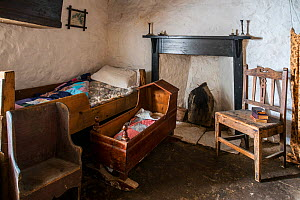Bedroom in the Croft House Museum restored 19th century cottage at Boddam, Dunrossness, Shetland Islands, Scotland, UK, May 2018  -  Philippe Clement