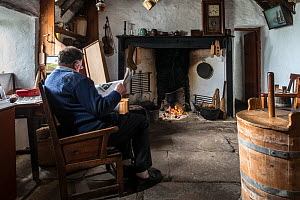 Living room in the Croft House Museum / Crofthouse Museum, restored 19th century cottage at Boddam, Dunrossness, Shetland Islands, Scotland, UK, May 2018  -  Philippe Clement