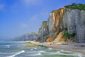 Shingle beach and chalk cliffs along the North Sea coast at Yport, Normandy, France, June 2018 - Philippe Clement