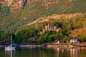 Duncraig Castle in evening light, mansion in Lochalsh along the shore of Loch Carron near Plockton, Ross and Cromarty, Scottish Highlands, Scotland, June 2017  -  Philippe Clement