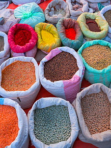Local market with pulses and spices, Chitwan National Park, Inner Terai lowlands, Nepal. February 2018.  -  Juan  Carlos Munoz