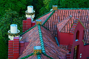 Roof of Villa El Capricho de Gaudi designed by Antoni Gaudi, built in 1883-1885, Comillas, Cantabria, Spain. May 2018.  -  Juan  Carlos Munoz