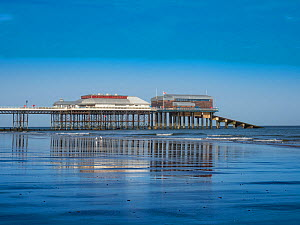 View of Cromer beach showing the famous pier, Norfolk, England, UK, October 2017. - Gary  K. Smith