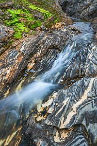 River and marble formations in the Corbels canyon. Lahko National Park, Fjell, Norway, July.  -  Erlend Haarberg