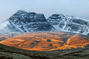 Mountain landscape with snow-covered tops in autumn. Fjell, Norway. September.  -  Erlend Haarberg