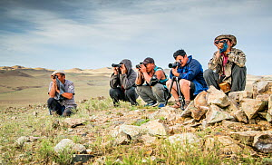 Research team looking for Pallas cats, during production of Big Cats series, Altanbulag, Mongolia. July 2017. - Paul Williams