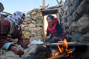 Women baking kulcha (flat bread) on traditional open fire in an ecotourism lodge. Part of a broader eco tourism initiative to augment their income and change local attitudes towards snow leopards (Pan... - Nick Garbutt