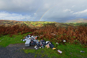 Fly tipping of domestic waste at a Wesh beauty spot, Mynd Llangatwg. Brecon Beacons National Park, Wales. November 2018.  -  Will Watson
