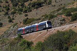 Trinicellu train running along hillside on a metre gauge track, Corsica, France. May 2017.  -  Mike Read