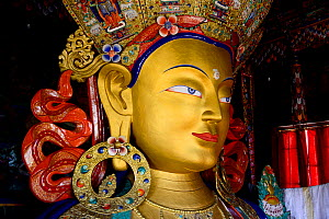 Statue of Maitreya Buddha, the largest such statue in Ladakh (15 meters). Thikshey monastery, a Tibetan Buddhist gompa, Ladakh, India. - Enrique Lopez-Tapia