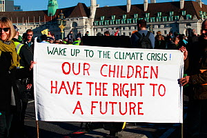 'Wake up to the Climate Crisis. Our Children have a right to a Future' placard at Extinction Rebellion demonstration. Five bridges across the Thames were blocked to draw attention to climate c...  -  David  Woodfall