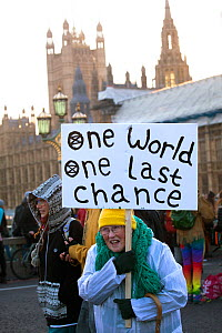 Woman holding 'One World One Last Chance' placard during Extinction Rebellion demonstration to draw attention to climate change. Five bridges across the Thames were blocked. Houses of Parliame...  -  David  Woodfall