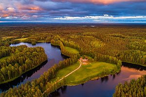 Aerial view of dwelling between two lakes, surrounded by forest. Karula National Park, Vorumaa, Southern Estonia. June 2018. - Sven  Zacek