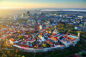 Tallinn city wall and old town, UNESCO World Heritage Site. New town and Lake Ulemiste beyond. In evening light. Harjumaa, Estonia. May 2011. - Sven  Zacek