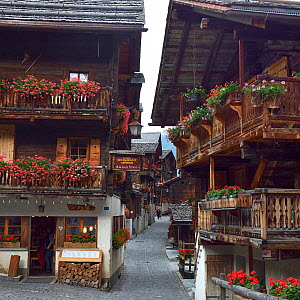 Flowers on balcony, Grimentz, Valais, Val d'Anniviers, Switzerland, September.  -  Loic Poidevin