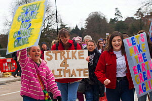 Children protesting climate change at 'Strike 4 Climate Change' March. Shrewsbury, England, UK. March 2019. Editorial use only.  -  David  Woodfall