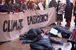 Extinction Rebellion protestors lying down in protest. Carmarthen ,Wales, December 2018.  -  David  Woodfall