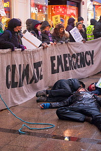 Extinction Rebellion protest in Carmarthen ,Wales, UK. December 2018  -  David  Woodfall