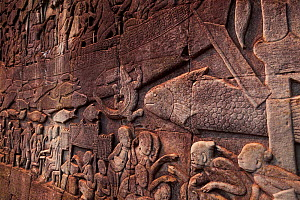 The Bas-reliefs at Bayon Temple. Angkor, Siem Reap town, Siem Reap province. Cambodia. - Juan  Carlos Munoz