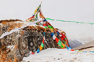 Snow covered mountain landscape and prayer flags, Serxu County, Garze Prefecture, Sichuan Province, China. - Jed Weingarten / Wild Wonders of China